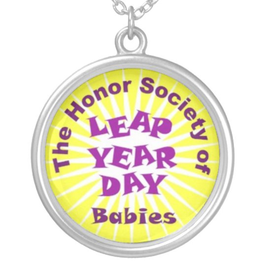 Honor Society of Leap Year Day Babies Silver Plated Necklace