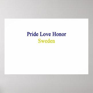 Honor Suecia del amor del orgullo Póster