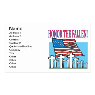 Honor The Fallen Double-Sided Standard Business Cards (Pack Of 100)