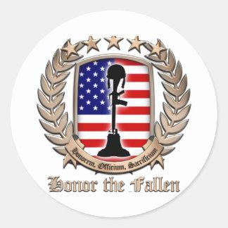 Honor The Fallen - Crest Classic Round Sticker