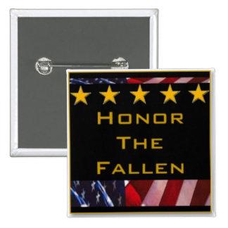 Honor the Fallen Military Tribute 2 Inch Square Button
