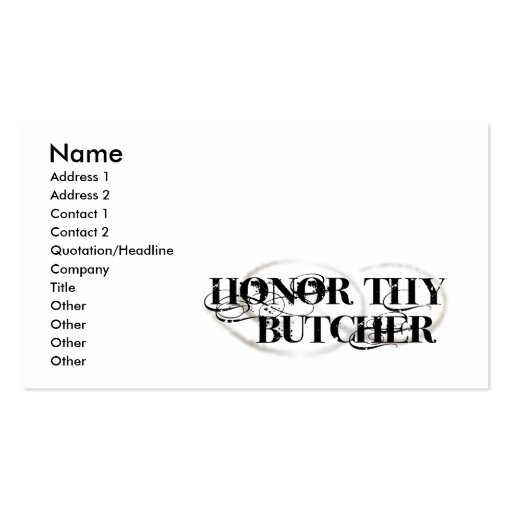 Honor Thy Butcher Business Card