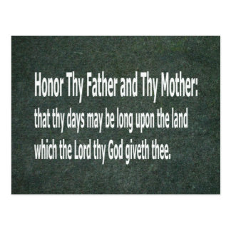 Honor Thy Father and Thy Mother Postcard