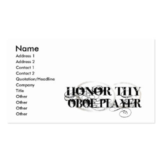 Honor Thy Oboe Player Double-Sided Standard Business Cards (Pack Of 100)