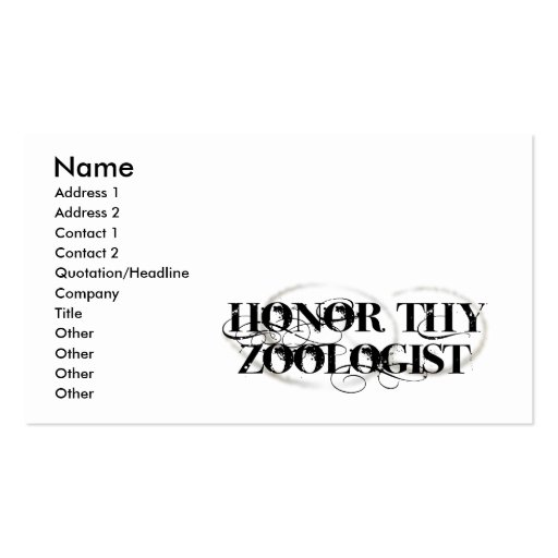 Honor Thy Zoologist Business Card