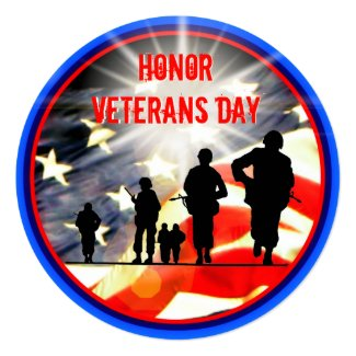 Honor Veterans Day 5.25 x 5.25 Invitation Circle