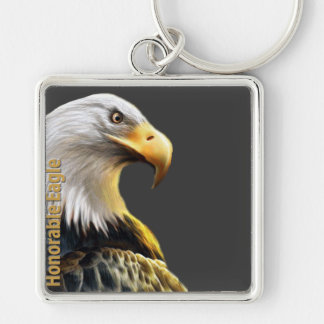 Honorable Eagle Silver-Colored Square Keychain
