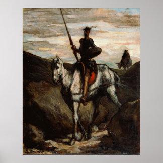 Honore Daumier - Don Quijote en las montañas Poster
