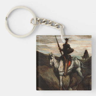 Honore Daumier - Don Quixote in the Mountains Single-Sided Square Acrylic Keychain