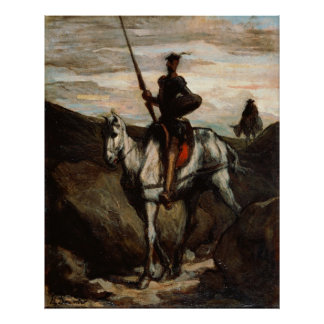 Honore Daumier - Don Quixote in the Mountains Poster