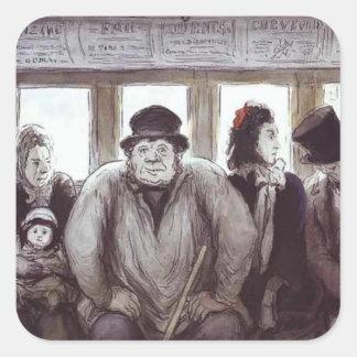 Honore Daumier- en el Omnibus Calcomanía Cuadradas
