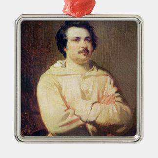 Honore de Balzac en el hábito de su monje, 1829 Adorno Cuadrado Plateado
