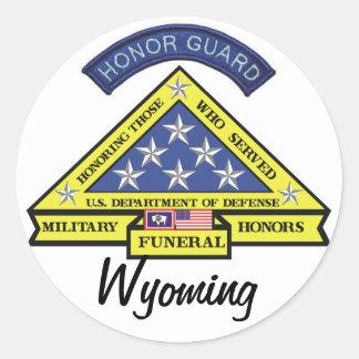 Honores fúnebres militares de Wyoming Pegatina Redonda