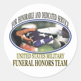 Honores fúnebres militares pegatina redonda