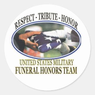 Honores fúnebres pegatina redonda