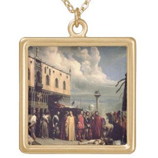 Honores funerarios dados a Titian que murió en Ven Colgante Cuadrado