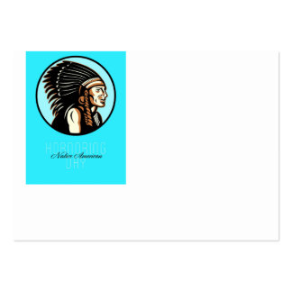 Honoring Native American Day Retro Greeting Card Large Business Cards (Pack Of 100)