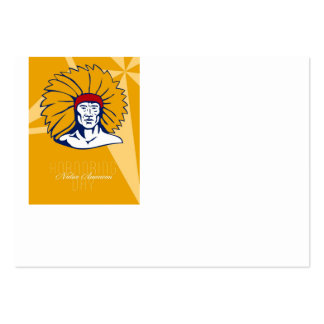 Honoring Native American Day Retro Poster Card Large Business Cards (Pack Of 100)