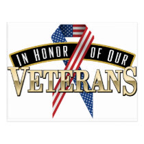 Honoring Veterans Logo Ribbon Postcard