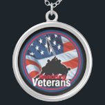 """Honoring Veterans Necklace<br><div class=""""desc"""">Honoring Veterans Memorial Day Military Army Marines Air Force Navy Coast Guard honor Heroes soldiers war protect Vietnam Korea WWI WWII foreign Boulder Necklace</div>"""