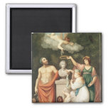 Honouring the Bust of Linnaeus 2 Inch Square Magnet