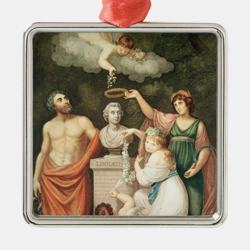 Honouring the Bust of Linnaeus Square Metal Christmas Ornament