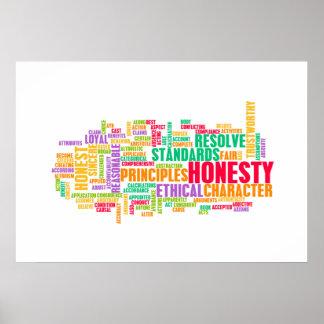 Honradez y carácter digno de confianza de una póster
