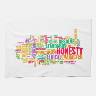 Honradez y carácter digno de confianza de una toallas de cocina