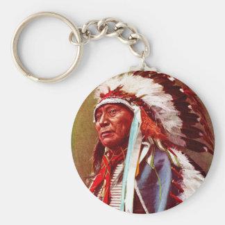 Honrar historia del nativo americano llavero redondo tipo pin