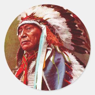 Honrar historia del nativo americano pegatina redonda