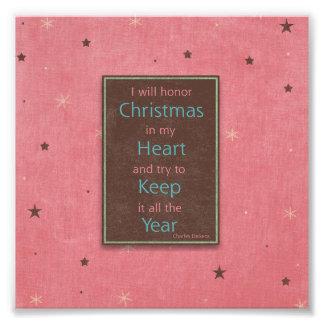 Honraré el diseño rosado de Brown del navidad Arte Fotográfico