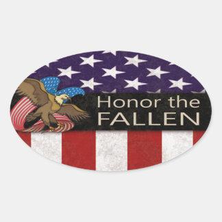 Honre a los militares caidos pegatina ovalada
