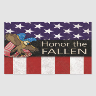 Honre a los militares caidos pegatina rectangular
