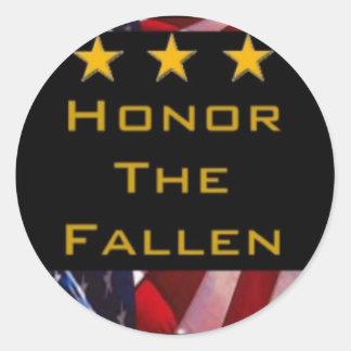 Honre a los militares caidos pegatina redonda