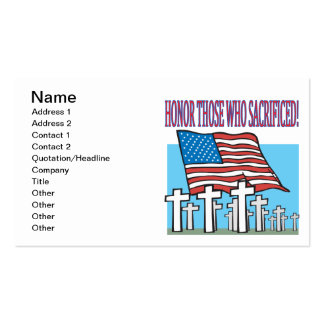 Honre a los que sacrificaron tarjetas personales