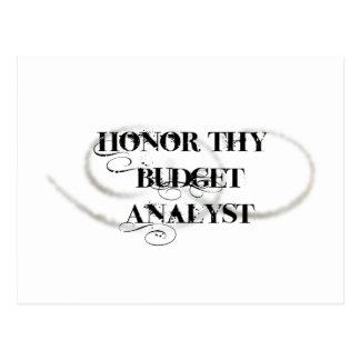 Honre a Thy analista del presupuesto Postales