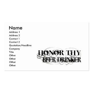Honre a Thy bebedor de cerveza Plantilla De Tarjeta De Negocio