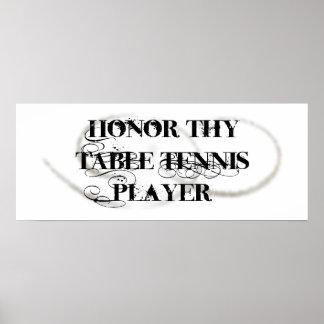 Honre a Thy jugador de tenis de mesa Póster