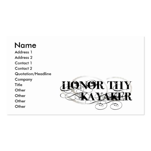 Honre a Thy Kayaker Tarjetas De Visita