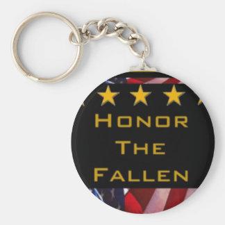 Honre el tributo militar caido llavero redondo tipo pin