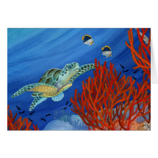 Honu and Black Coral Card