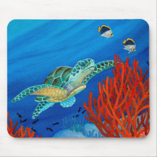 Honu and Black Coral Mouse Pad