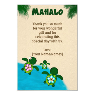 Honu Baby BOY Sea TURTLE Thank You FLAT Blue #281 Card