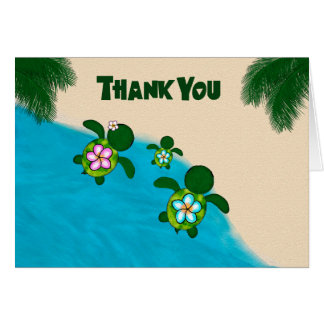Honu BOY Sea TURTLE Baby Shower Thank You Blue 281 Card