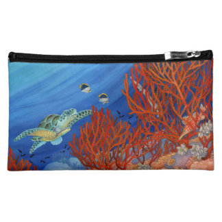 Honu (Green Sea Turtle) and Black Coral Cosmetic Bag