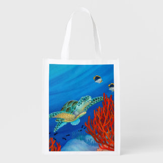 Honu (Green Sea Turtle) and Black Coral Grocery Bag