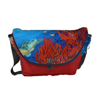 Honu (Green Sea Turtle) and Black Coral Messenger Bag