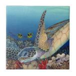 "Honu (Green Sea Turtle) Ceramic Tile<br><div class=""desc"">A honu (green sea turtle) explores a Hawaiian reef.</div>"