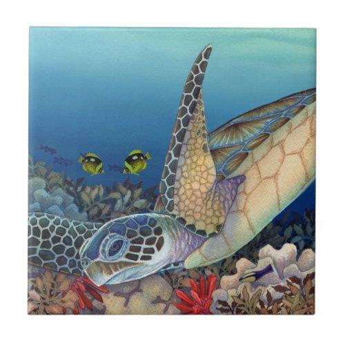 Honu Green Sea Turtle Ceramic Tile