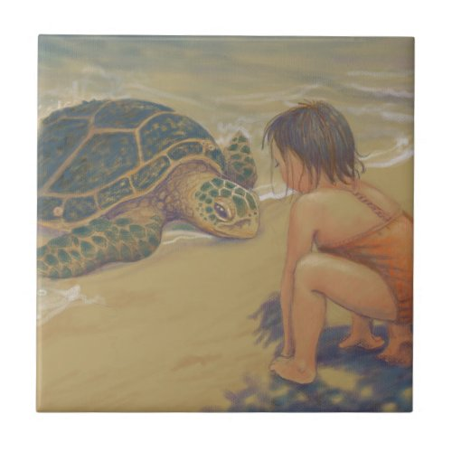 Honu Green Sea Turtle Greetings Tile